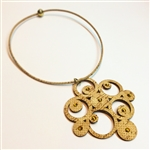 Cork Necklace gold Compass with diamontes