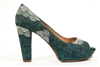 Blue Cork Peep Toe Heel shoes - Seashell