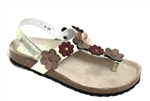 bronze flower cork sandal