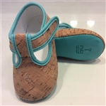 Baby Sandals Natural Cork/Blue trim