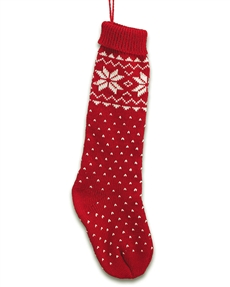 Wintry Weave Red Christmas Stocking