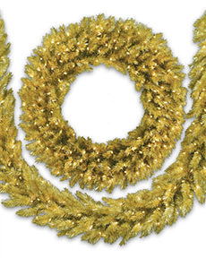 Treetopia - Toasted Champagne Gold Tinsel Artificial Christmas Wreath #GoldChristmas