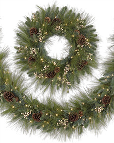 Harvest Pine Artificial Outdoor Christmas Wreath and Garland