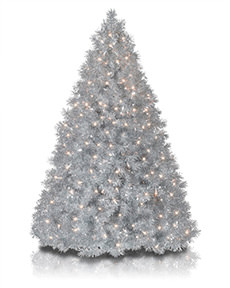 Silver Stardust Tinsel Tree <span>|7.5'|Full 58"