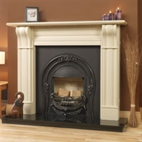 "Dublin Corbel 60"", Bianco Latte Micromarble, Mantel Only"