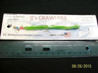 "JJ's Crawlers 4"" Chartreuse Flake Rigged Worm"