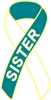 Cervical Cancer Awareness Ribbon Pin - Teal/White