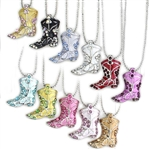 J001 - Cowgirl Boot Necklaces - Package (12)