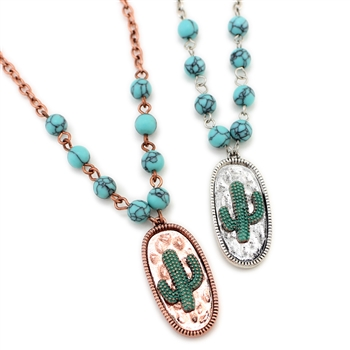 Cactus Disk Necklace Set - Silver or Patina - Package (3)
