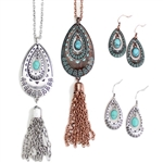 J191 - Metal Turquoise Drops with Metal Tassles - Silver or Patina - Package (3)