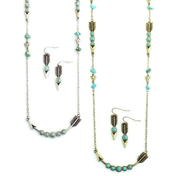 Arrow Chain with Turquoise - Silver or Gold - Package (3)