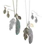 Feather Cluster Set - Patina or Two-Tone  - Package (3)