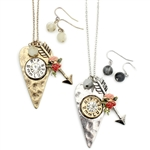 Shotgun Shell Heart and Arrow Cluster Necklace Set - Gold or Silver - Package (3)