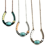 Artisan Horseshoe Necklace - Gold, Silver or Patina - Package (3)