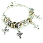 JB111 - Stackable Bead Cross Charm Bracelet - Package (3)