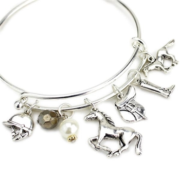English Horse Charms Wire Bracelet - Package (3)