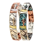 Desert Cactus Landscape Bracelet - 3 Metal and Patina- Package (3)