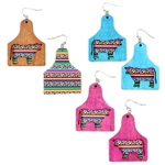 JE017 - Wooden Laser Cut Cow Tag and Serape Earrings - Pink, Turquoise and Brown - Package (3)