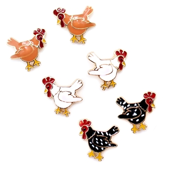 Enamel Chicken Earrings - Rhode Island (red,) Plymouth (black,) or Cornish (white) - Package (3)