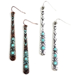 JE186 - Turquoise Bar Earrings - Patina or Silver - Package (3)