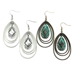 JE195 - Southwest Hoop Earrings - Silver or Patina - Package (3)