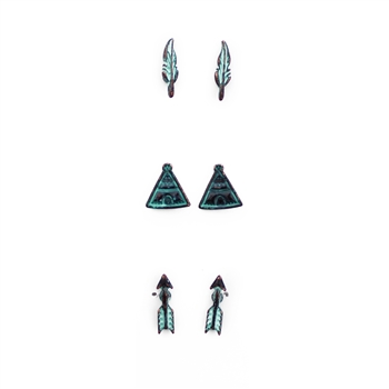 Set of Three Tribal Earrings - Copper, Patina, Gold or Silver - Package (3)