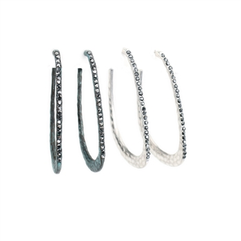 Hammered Rhinestone Hoops - Patina or Silver- Package (3)