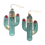 Wire Wrapped Patina Saguaro Cactus Earrings - Package (3)