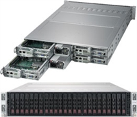 Supermicro SYS-2029TP-HC0R SuperServer/ TwinPro/ 2U Rackmount/ X11DPT-PS Moterhboard/ Dual LGA 3647/ Intel C621/ Broadcom 3008 SAS3 controlle/ 4x Hot-pluggable Systems/ Flaxible Networking Support/ Mini-mSATA support