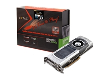 ZOTAC GeForce GTX TITAN ZT-70101-10P Package 6GB 384-bit GDDR5 (Core clock 837 MHz Base/876 MHz Boost) Memory clock 6008 MHz PCI Express 3.0 Video Card SLI supported Full Warranty