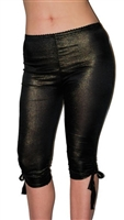 sexy black gold shimmery leggings are stretchy and fitted. Cute trendy ties at hem of leggings. Perfect for a glam 80's inspired party night. capri leggings, cropped leggings that are capri, glam trendy capri leggings, shimmer leggings
