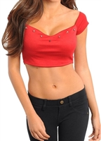 sexy red crop is is stretchy and studded tops are cropped and trendy tops to party top for valentine's day, July 4th, patriot red tops are in style tops to wear clubbing or casual with jean shorts, rock star insired, celebrity style tops in cropped tops
