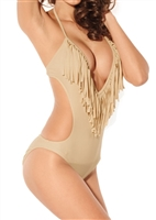 This sexy monokini is made of lightweight polyester and spandex fabric, this Fascinating Plunge Monokini in beige is not only super sexy, but also owns the hottest style. It features a self-tie design with a wide cut and long length. Has molded bra cups .