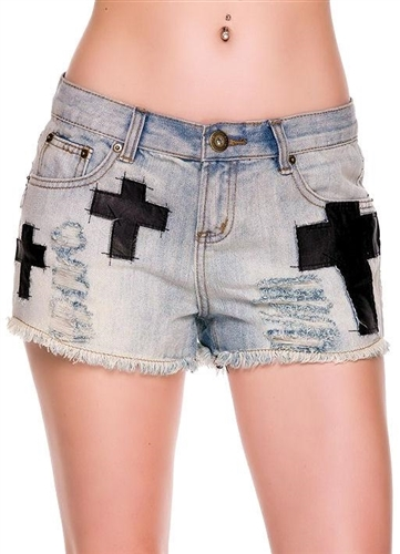 This trendy rock chic denim shorts have vegan faux leather crosses on them and frayed hems. Rise is 9 inches and inseam is 2.5 inches. Very sexy and can be styles gothic, rocker chic,glam or hippie. Fabric is cotton/poly.