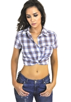 sexy_button_up_plaid_knotted_crop_top