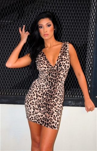 sexy leopard print pencil fitted cleavage dress