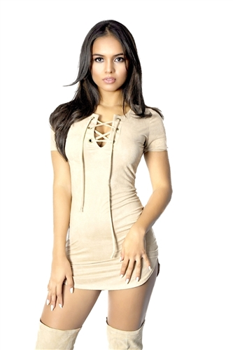 Sexy soft stretch faux suede lace up mini dress. Very boho festival style.