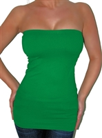 Sexy green basic longer length tube top is very stretchy and has a built in shelf bra for pefect shaping. Fabric is nylon/spandex. Great for St. Patrick's day wear.