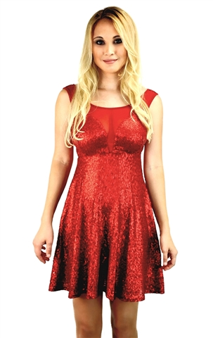 Red sequin mesh party dress