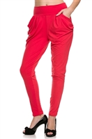 Hot pink pleated high waist harem pants