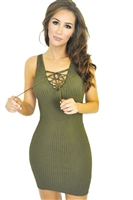 Green_lace_up_front_ribbed_body_con_dress
