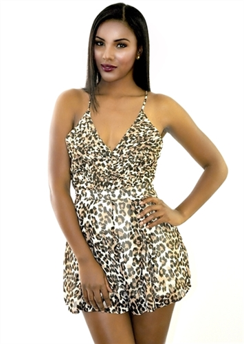 sexy backless leopard cleavage romper playsuits