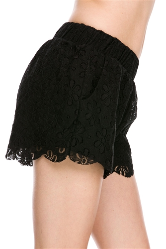 These pretty lace shorts have elactic waist band and scalloped hem. Lined