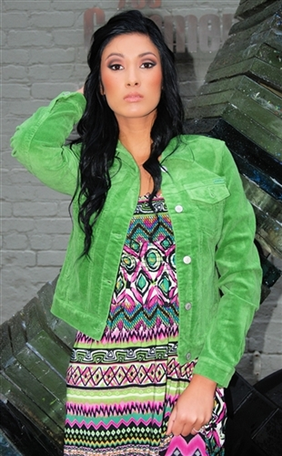 trendy green stretchy corduroy cropped style jacket , cropped western style jacket in corduroy, sexy jean style jacket great over sun dresses, biker jacket in green, sexy corduroy jackets that are cropped and instyle, must have jackets, trendy jackets