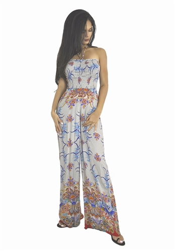 This sexy tribal floral print maxi romper dress has a smocked stretchy bust and is long and flowing. Fabric is rayon. This pretty boho romper sun dress is   Very trendy this season and perfect for summer and can be worn summer thru fall, rompers