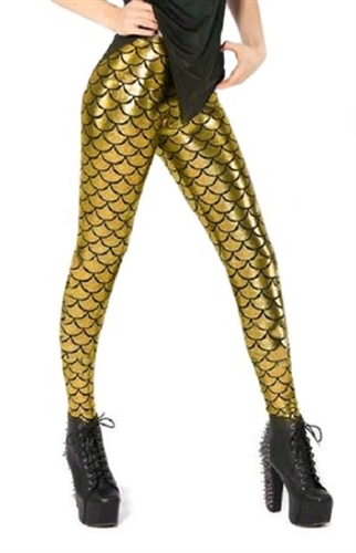 Mermaid raver party leggings for Halloween party wear, shiny gold leggings with high waist are super sexy and in style, shine going out in these striking leggings for holiday wear, get your party on like a celebrity in gold leggings, glam leggings