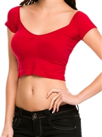 sexy_red_crop_seamless_cleavage_top