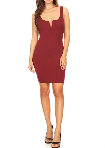wine_mini_plunge_dress