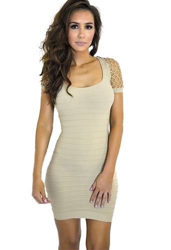 beige net body con seamless cut out bandage dress