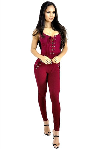 sexy _burgundy_lace_up_jumpsuit